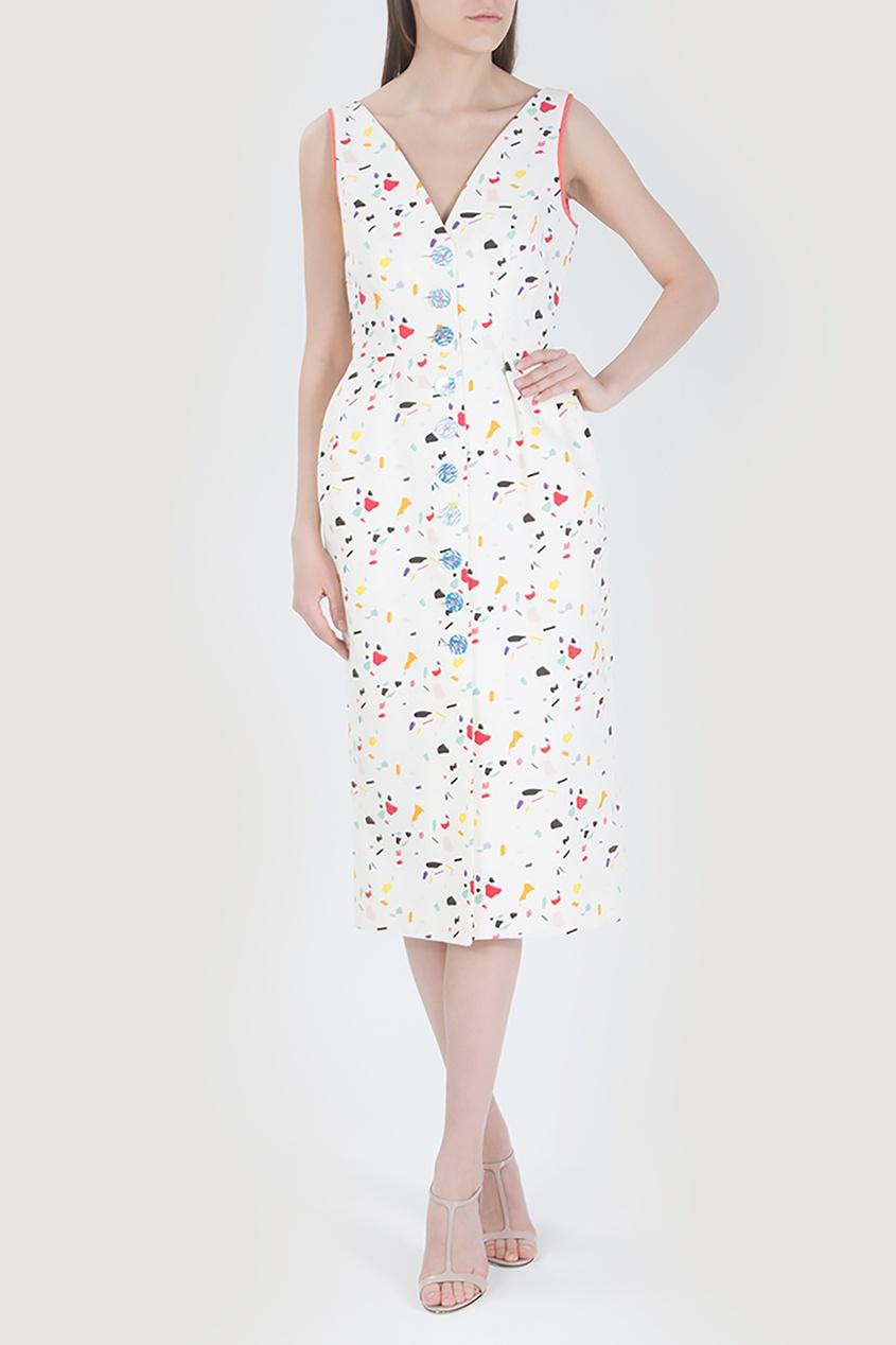 Carolina Herrera | белый Белое платье с яркими принтами | Clouty
