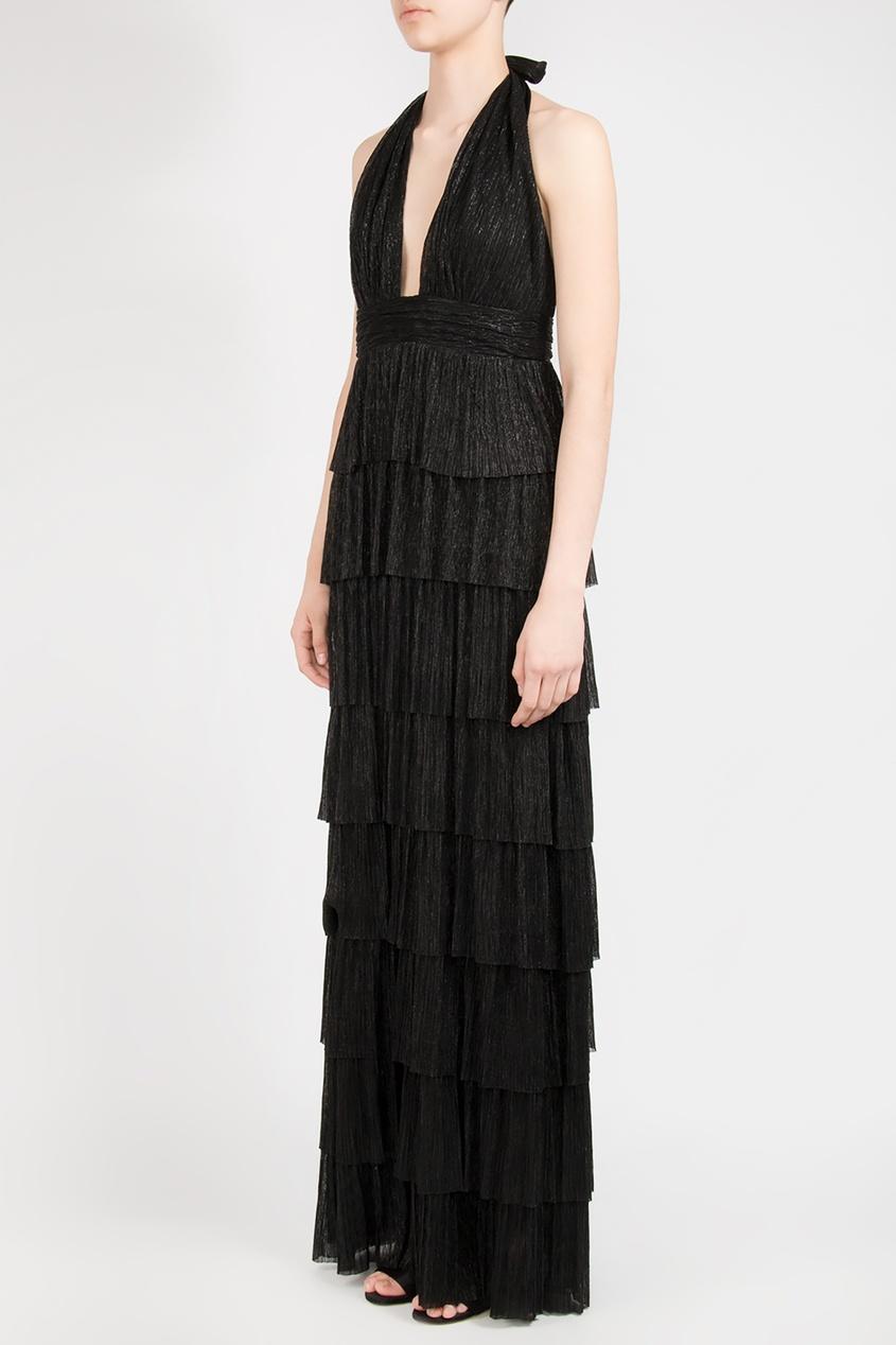 Forever Unique | черный Черное макси-платье с блеском | Clouty