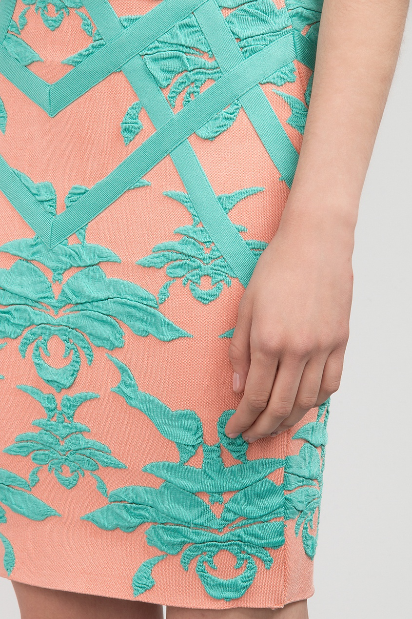 Forever Unique   Multicolor Розовое мини-платье с бирюзовыми узорами   Clouty