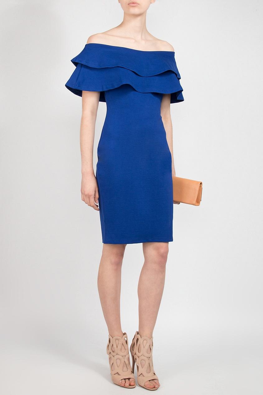 Forever Unique   синий Синее платье-футляр с оборками   Clouty