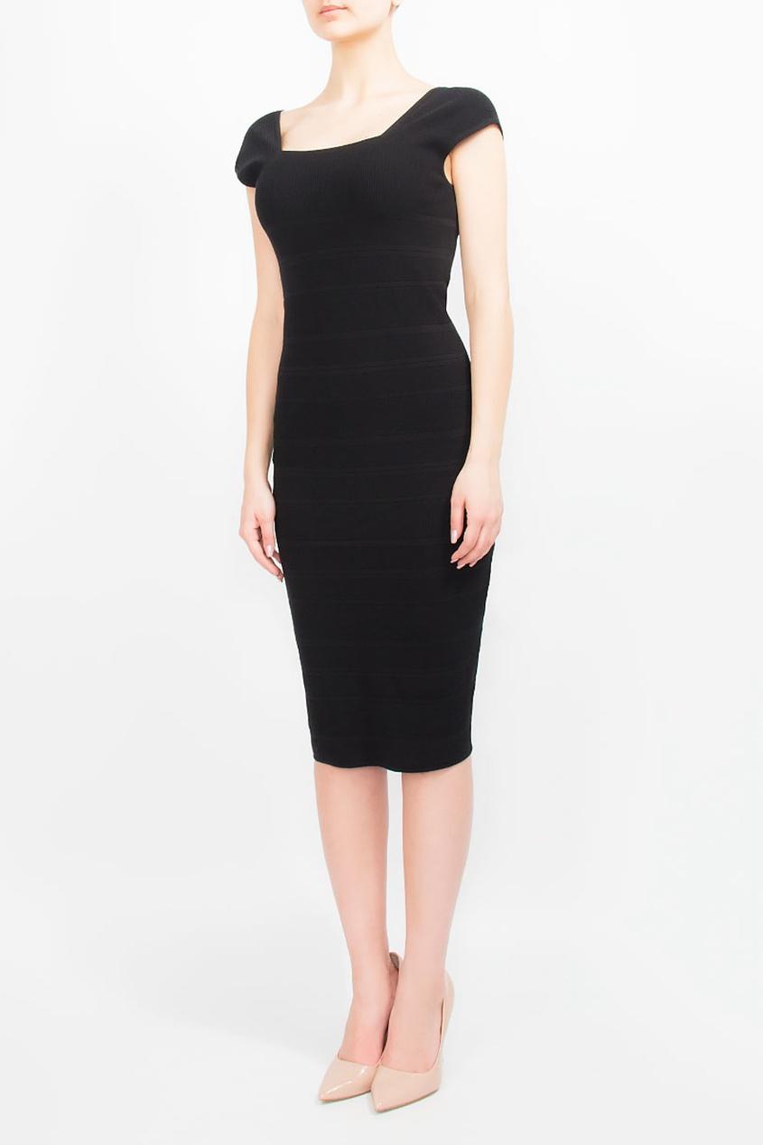 BOSS   черный Черное трикотажное платье-футляр   Clouty