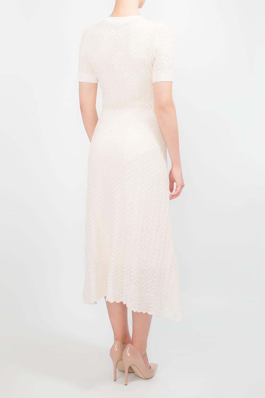 BOSS | белый Кремовое трикотажное платье с узором | Clouty