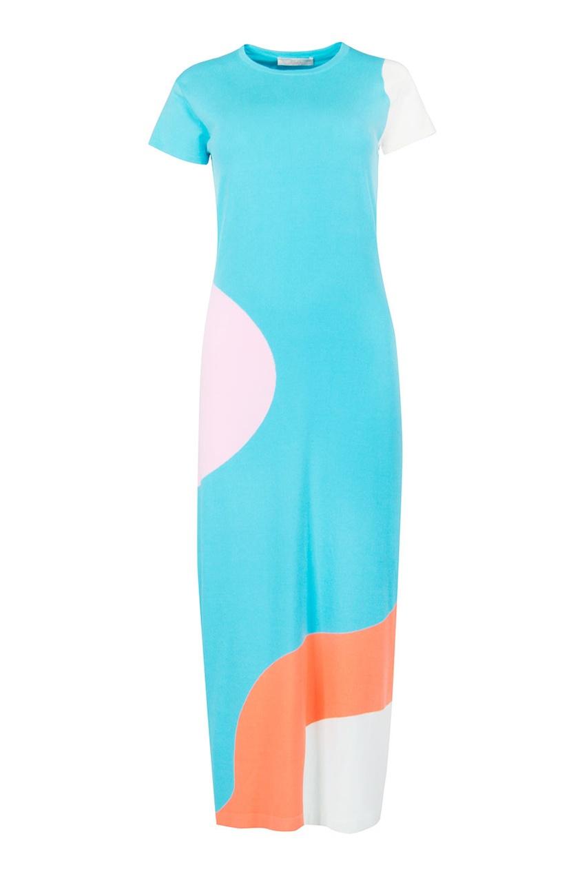Tak. Ori   Multicolor Голубое платье с цветными вставками   Clouty