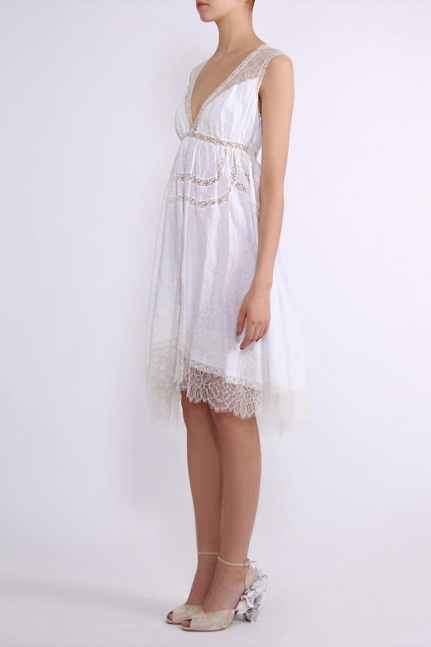 Ermanno Scervino   белый Белое платье с кружевом   Clouty