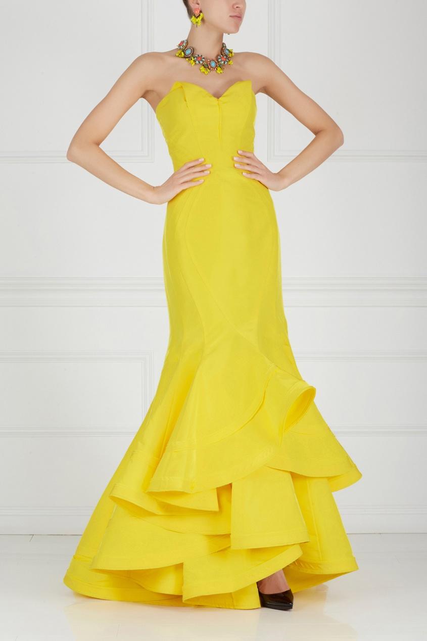 Zac Posen | желтый Шелковое платье в пол | Clouty