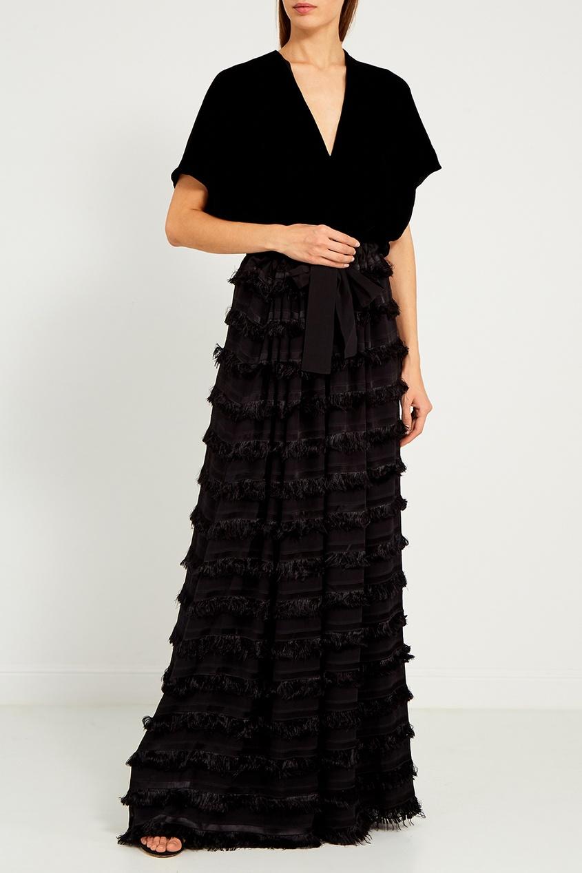 Albino Teodoro | черный Черное платье с бахромой | Clouty