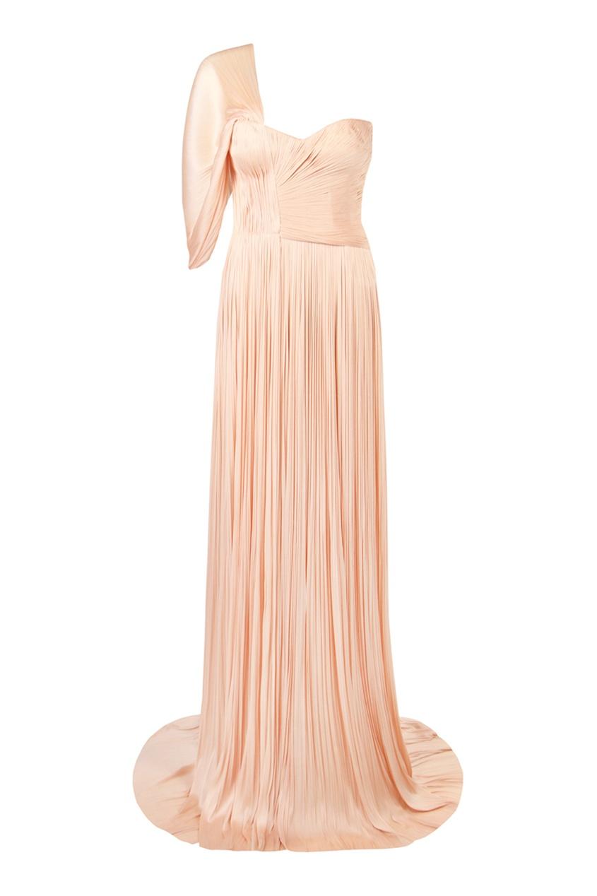 Maria Lucia Hohan | бежевый Длинное асимметричное платье с разрезом | Clouty