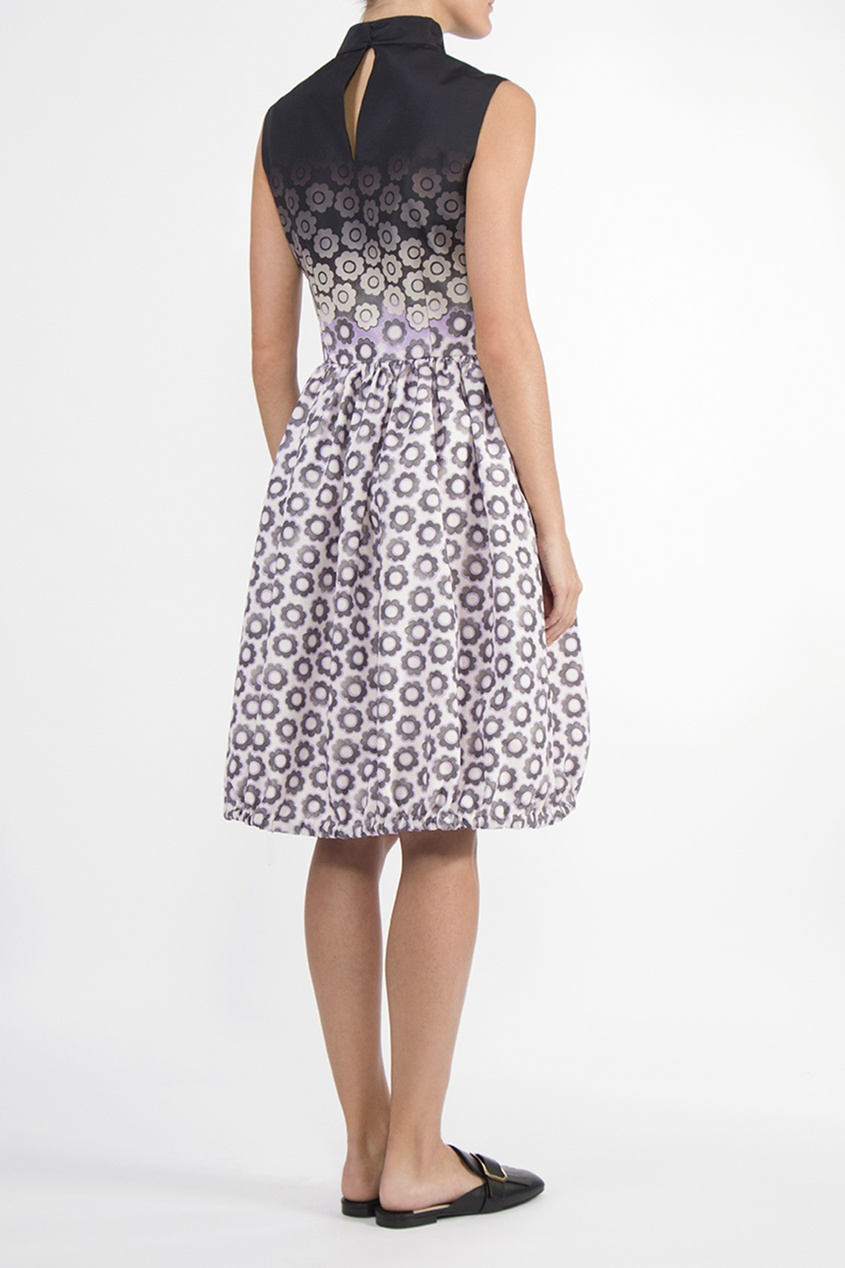 PRADA   Multicolor Приталенное шелковое платье без рукавов   Clouty