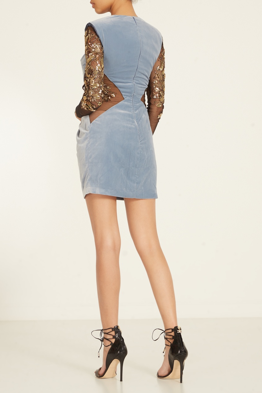 Elisabetta Franchi | Multicolor Комбинированное платье с вышивкой на рукавах | Clouty