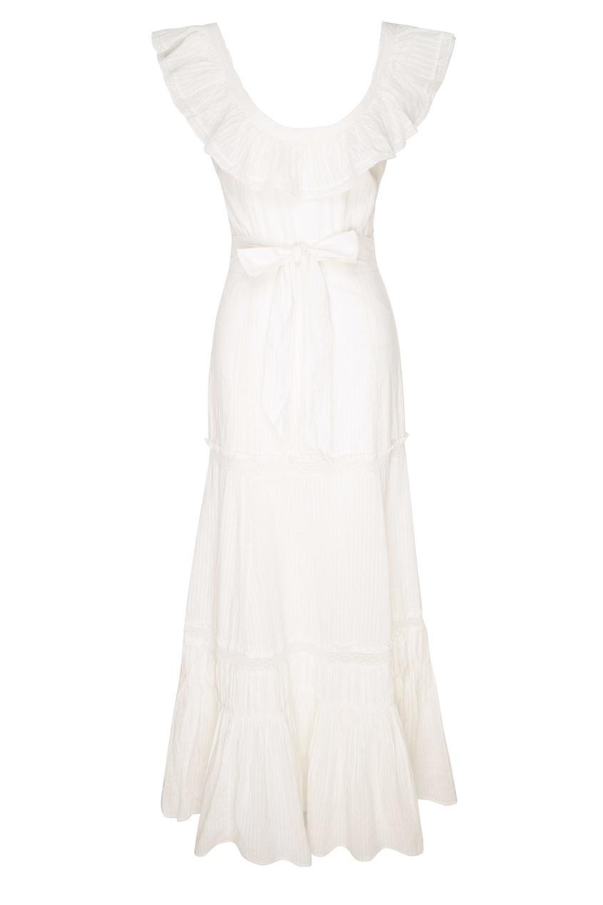 LoveShackFancy | белый Белое платье-макси с оборкой | Clouty