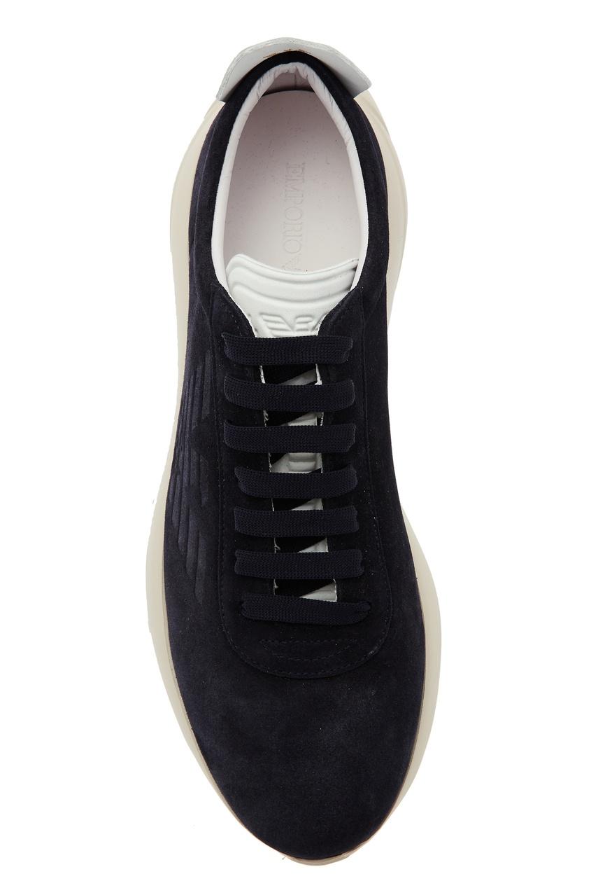 Emporio Armani | Multicolor Темно-синие замшевые кроссовки | Clouty