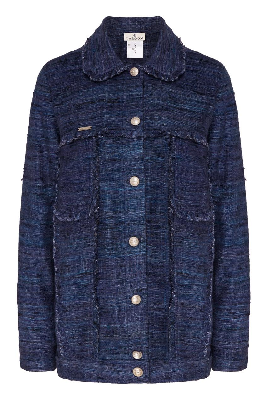 Laroom | Синий шелковый жакет с бахромой | Clouty