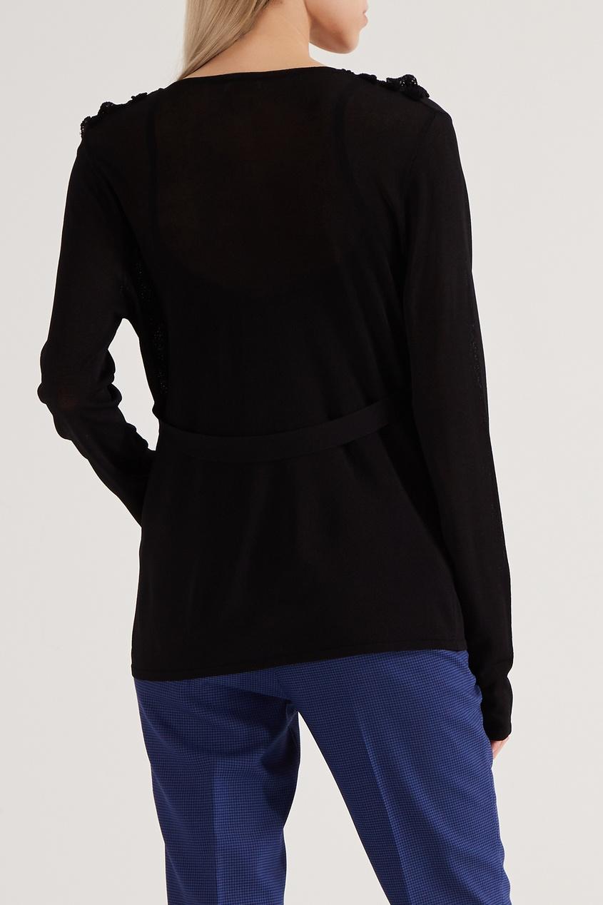 VALENTINO | Черный топ с глубоким вырезом и рюшами | Clouty