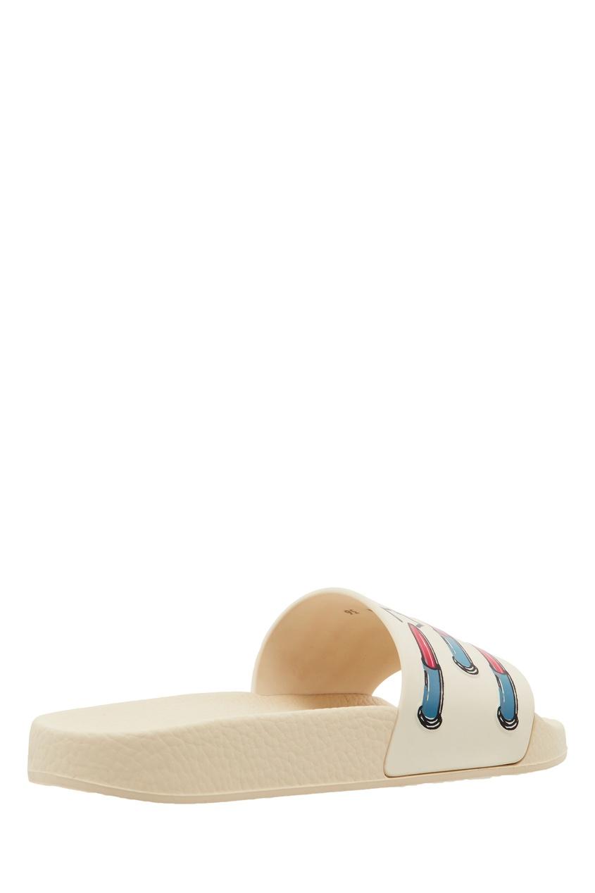 VALENTINO | Молочный Белые шлепки с принтом помад | Clouty