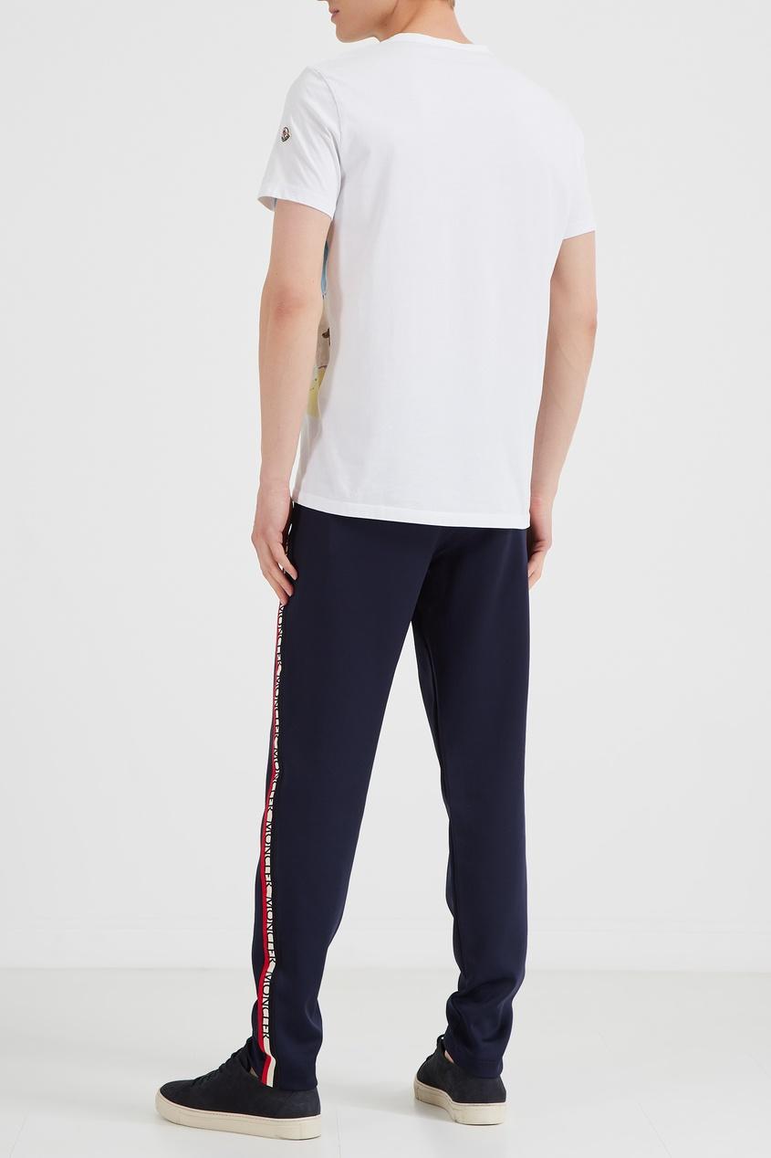 MONCLER | синий Синие брюки с яркими лампасами | Clouty
