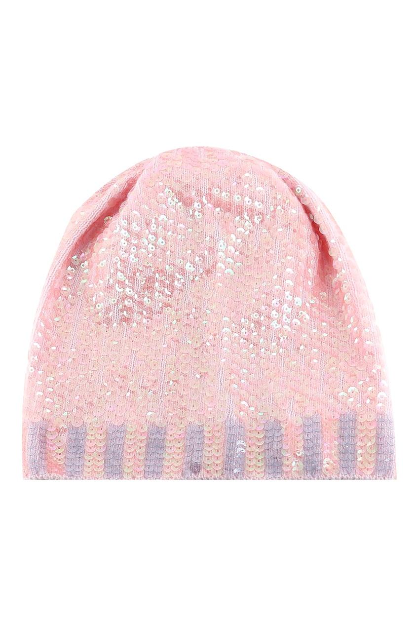 Blumarine | розовый Розовая шерстяная шапка с пайетками | Clouty