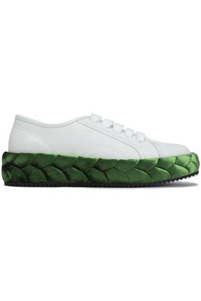Marco De Vincenzo | Marco De Vincenzo Woman Braided Velvet-trimmed Leather Sneakers White | Clouty