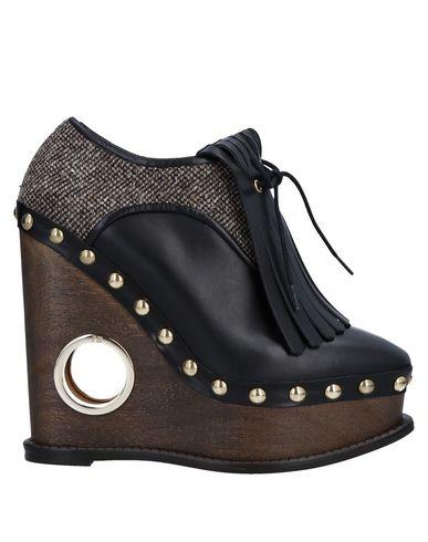 Paloma Barceló | Черный Женская черная обувь на шнурках PALOMA BARCELO кожа | Clouty