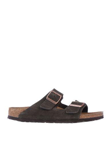 Birkenstock | Темно-коричневый Мужские темно-коричневые сандалии BIRKENSTOCK кожа | Clouty
