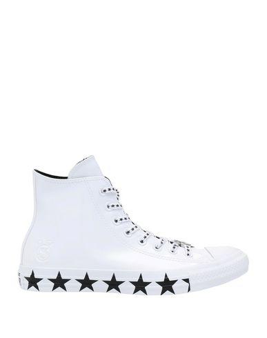 CONVERSE | Белый Женские белые высокие кеды и кроссовки CONVERSE x MILEY CYRUS искусственная кожа | Clouty
