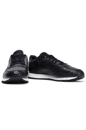 REEBOK   Reebok Woman Snake-effect Leather Sneakers Black   Clouty