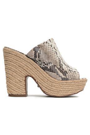 Schutz | Schutz Woman Eviana Snake-effect Leather Platform Sandals Animal Print | Clouty