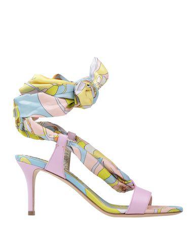 Emilio Pucci | Розовый Женские розовые сандалии EMILIO PUCCI кожа | Clouty