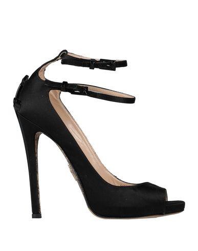 Cesare Paciotti | Черный; Светло-розовый Женские черные туфли CESARE PACIOTTI атлас | Clouty