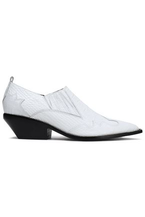 Sigerson Morrison | Sigerson Morrison Woman Croc-effect Leather Ankle Boots White | Clouty