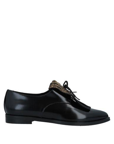 Ninalilou | Черный Женская черная обувь на шнурках NINALILOU кожа | Clouty