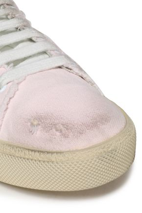 SAINT LAURENT | Saint Laurent Woman Distressed Canvas Sneakers Pastel Pink | Clouty