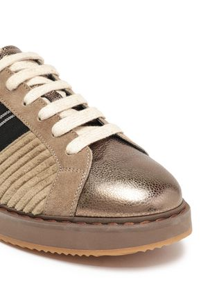Brunello Cucinelli | Brunello Cucinelli Woman Bead-embellished Suede And Leather-paneled Corduroy Sneakers Brass | Clouty