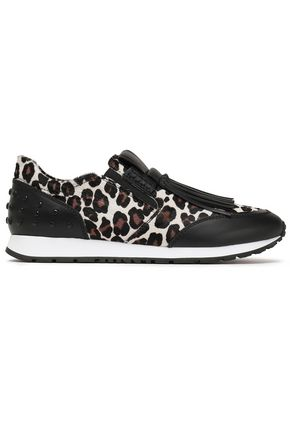 Tod's | Tod's Woman Fringed Studded Leopard-print Leather And Calf Hair Slip-on Sneakers Animal Print | Clouty