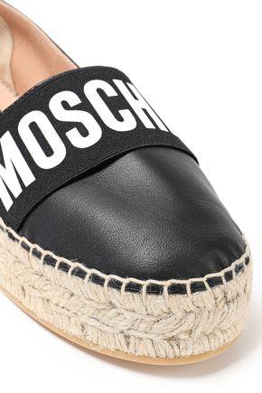 MOSCHINO | Moschino Woman Logo-print Leather Espadrilles Black | Clouty