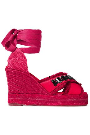Castañer | Castaner Woman Frayed Embellished Satin Wedge Espadrille Sandals Claret | Clouty