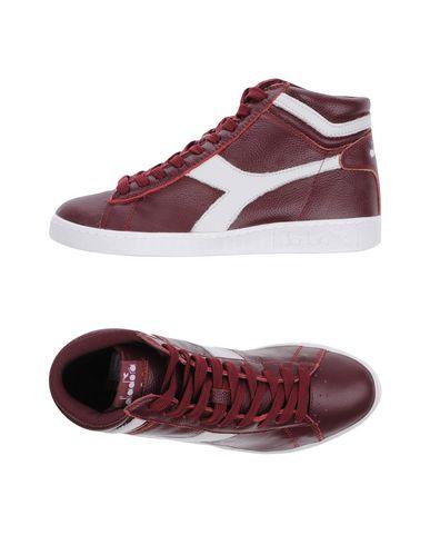 Diadora | Красно-коричневый; Зеленый-милитари Мужские высокие кеды и кроссовки DIADORA текстурированная кожа | Clouty