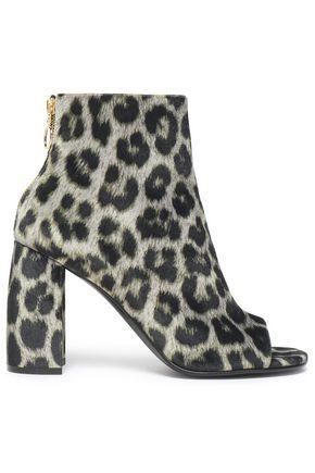 Stella McCartney | Stella Mccartney Woman Leopard-print Faux Leather Ankle Boots Black | Clouty