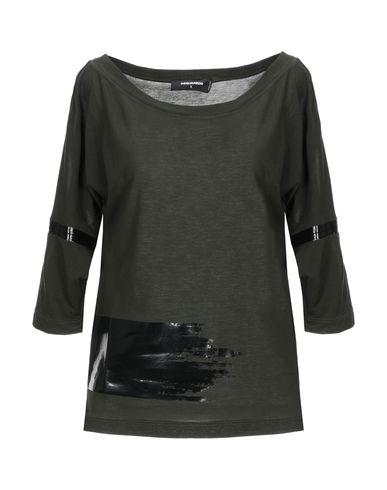 DSQUARED2 | Зеленый-милитари Женская футболка DSQUARED2 джерси | Clouty