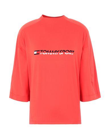 TOMMY HILFIGER | Коралловый Женская коралловая футболка TOMMY SPORT синтетическое джерси | Clouty