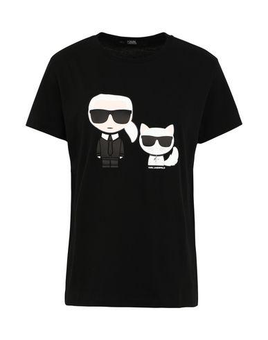 KARL LAGERFELD | Черный Женская черная футболка KARL LAGERFELD круглый вырез горловины | Clouty