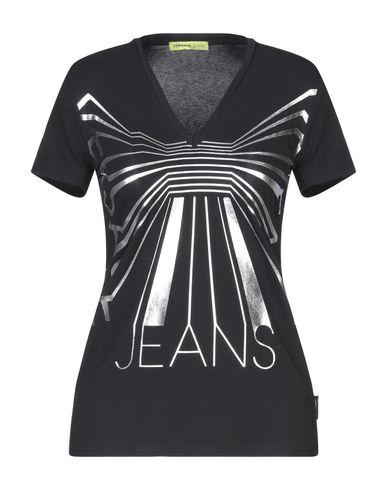 Versace Jeans   Черный Женская черная футболка VERSACE JEANS джерси   Clouty