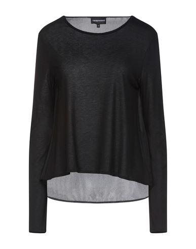 Emporio Armani | Черный; Белый Женская черная футболка EMPORIO ARMANI джерси | Clouty