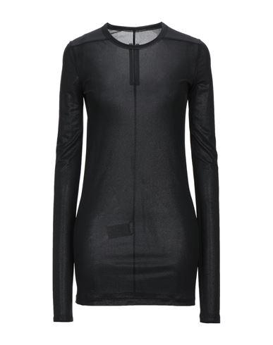 RICK OWENS | Черный Женская черная футболка RICK OWENS креп | Clouty