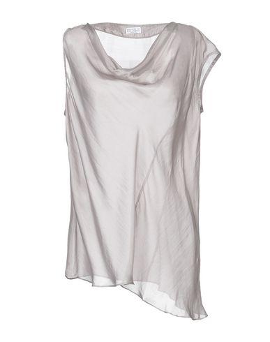Brunello Cucinelli | Серый Женская серая блузка BRUNELLO CUCINELLI креп | Clouty