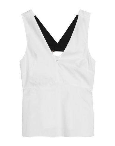 TIBI | Белый; Темно-синий Женский белый топ без рукавов TIBI плотная ткань | Clouty