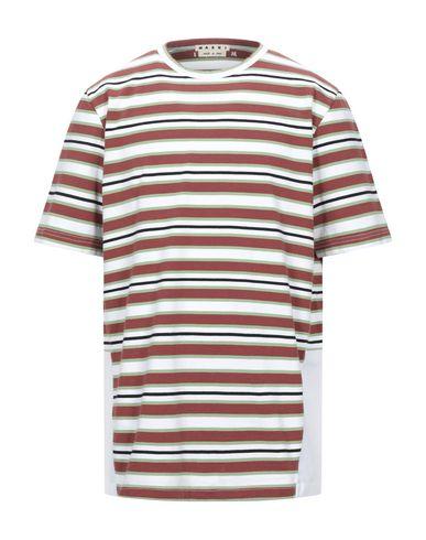 Marni | Коричневый; Темно-синий; Кирпично-красный Мужская коричневая футболка MARNI плотная ткань | Clouty