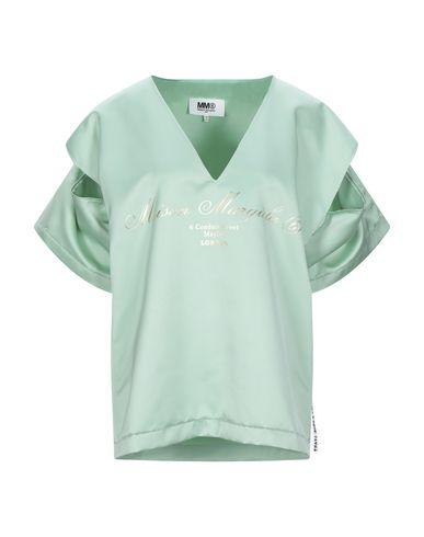 MM6 Maison Margiela | Светло-зеленый; Черный Женская светло-зеленая футболка MM6 MAISON MARGIELA атлас | Clouty