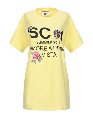 Semicouture   Желтый; Белый Женская желтая футболка SEMICOUTURE джерси   Clouty