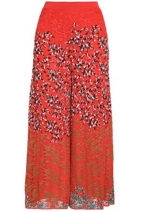 Missoni   Missoni Woman Embroidered Crochet-knit Wide-leg Pants Tomato Red   Clouty