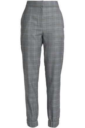 TIBI | Tibi Woman Prince Of Wales Checked Wool And Silk-blend Tapered Pants Gray | Clouty